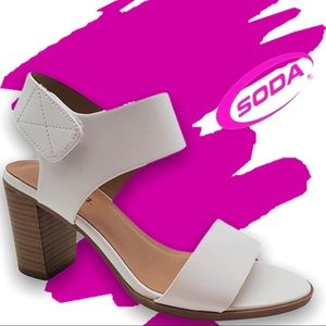 Soda Wait WHITE Adjustable Strap Wood Heel Sandal